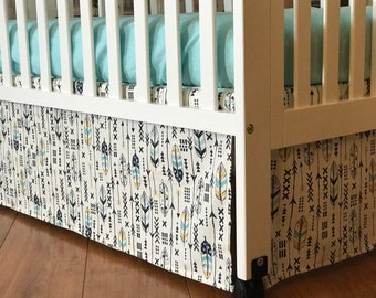 Feather & Arrows l Gender Neutral Crib Bedding Set | Baby Boy Girl l Crib Skirt + Fitted Sheet + Changing Pad Cover | Nursery Decor Tribal