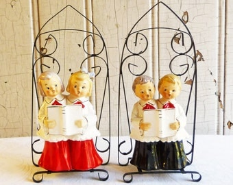 Vintage Choir Figurines with Metal Cathedral Stands - Rare Ceramic Christmas Find - Made in Japan - Mid-Century 1950s