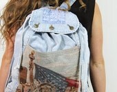HOLIDAY SALE Denim Tapestry Backpack Vintage New York New York VON Statue of Liberty Daytripper Jean Backpack / Vintage bags by TatiTati Sty