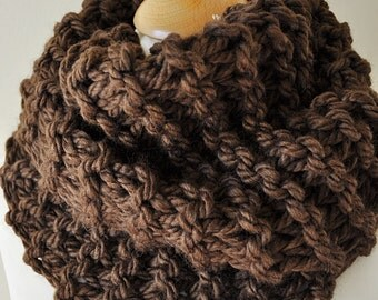 Chunky Knit Cowl - Brown Garter Stitch Cowl -  Choice Of Trending Colors