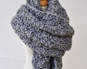 On Sale Unisex Super Scarf - Men's Blanket Scarf, Grey Knit Scarf, Super Chunky Oversized Scarf, Extra Wide Wool Scarf, Super Sized Knitted