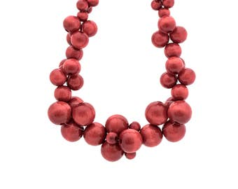 Wooden statement necklace MoleCOOLs Red
