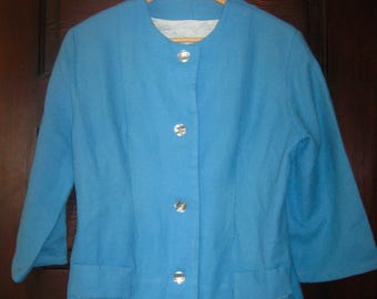 Vintage Jackie O 1960s Short Boxy Soft Medium Blue Wool Jacket  M