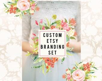 Custom Etsy Shop Set OOAK Business Branding Set - Banners Avatars Placements  Business Card Sticker Design Facebook Timeline