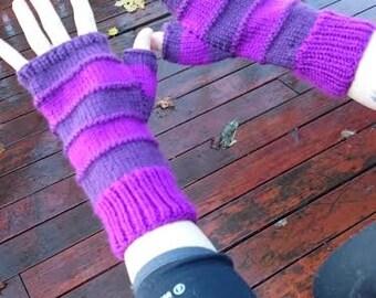 Purple and maroon long fingerless gloves, womens size small/medium, vegan