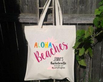 Aloha Beaches, Hola, Mexico Bachelorette Party, Canvas Tote Bag, Beach Tote,