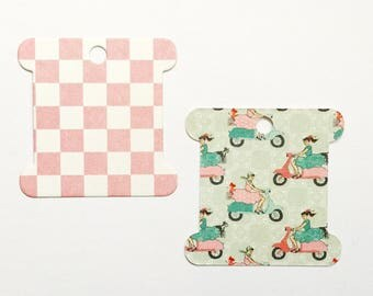 Retro Scooter Girls and Pink Check Thread Spools for Embroidery Thread Storage, Scrapbooking, Packaging, Price Tags, Gift Tags