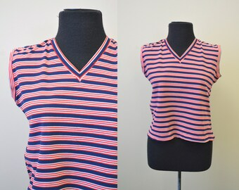 1960s Red, White, and Blue Striped Sleeveless Shirt
