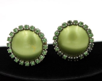 Olive Green Thermoset Earrings with Rhinestones, ca. 1950s