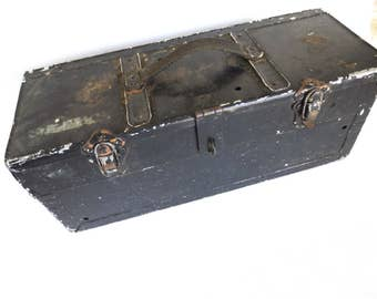 40s Industrial Tool Box, Salvaged WWII Black-Metal-Mechanics-Tool-Box, Vintage metal box, Industrial storage, photo prop, Jackpot Jen
