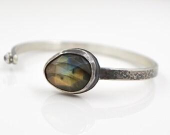Labradorite Rainbow Moonstone Hammered Sterling Cuff Bracelet - Silver Bracelet