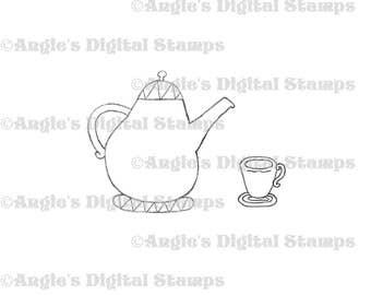 Teapot & Cup Digital Stamp Image