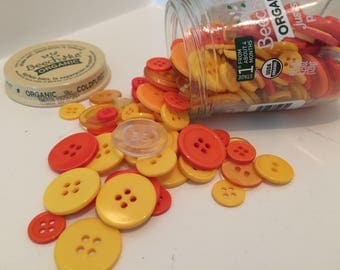Button Jar Craft Buttons Glass Baby Food Jar Yellow Orange Clear Round Sweet Potatoes Sewing Collection