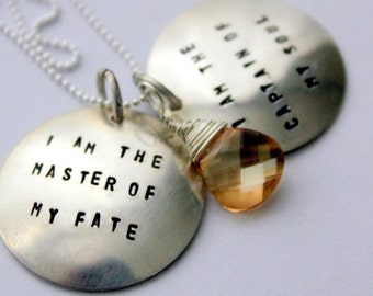 HUGE SALE I am the Master Of My Fate Necklace, Gift Graduation Jewelry, Word Pendant Personalized Quote Necklace, Topaz Necklace
