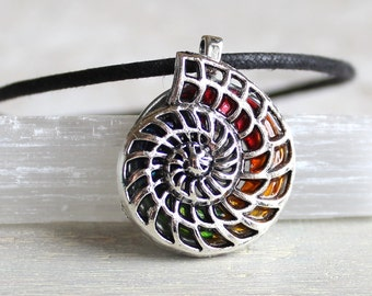 rainbow nautilus shell necklace, spiral shell, sea shell, shell jewelry, ocean jewelry, sea necklace, beach jewelry, unique gift, ocean gift