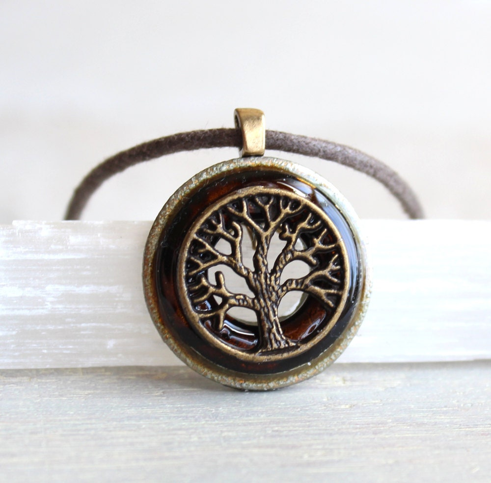 brown tree of necklace mens jewelry unique by