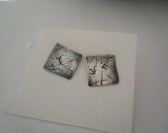 Bamboo Earrings Sterling Silver Stud Earrings Textured Metal Handmade