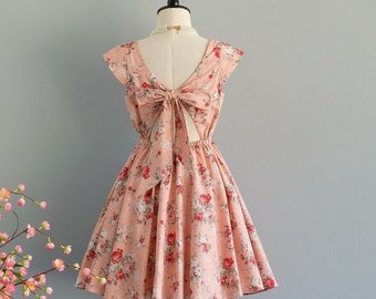 Lolita - Dress Dusty Pink Floral Backless Dress Bow Back Dress Pink Floral Dress Party Pink Wedding Bridesmaid Dress Cap Sleeves  XS-XL