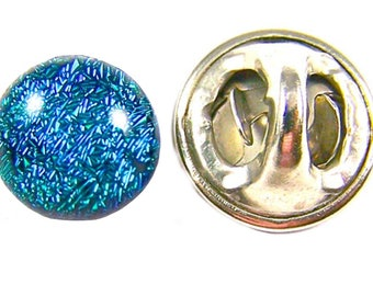 "Tie Tack Dichroic Glass Tiny - Verdigris Green Teal Viridian Fused Glass - 1/4"" 7mm - Scarf Pin Flair for Suspenders Hat or Coat"