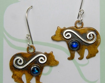 Sterling Silver Spiral Bear Earrings with Blue Paua Shell Gemstones Sterling Silver Mystic Spirals Silver Patina Grizzly Bear Earrings