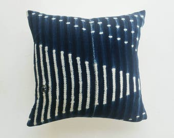 Vintage Indigo Mudcloth Pillow Cover - African Pillow - Modern Farmhouse Decor