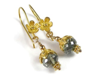 Green Quartz Earrings, Green Stone, Gold Vermeil Earrings, Beaded Stone Earrings, Green Earrings, Elegant, Luxe