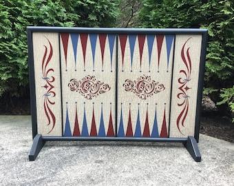 Backgammon, Game Board, Wood, Hand Painted, Wooden, Game Boards, Folk Art, Primitive