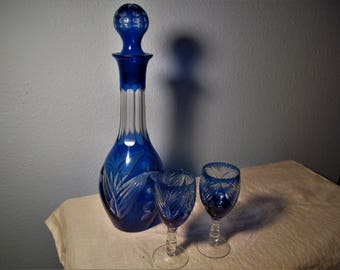 Vintage Bohemian Style Sapphire Blue Cut Glass Decanter with Two Glasses