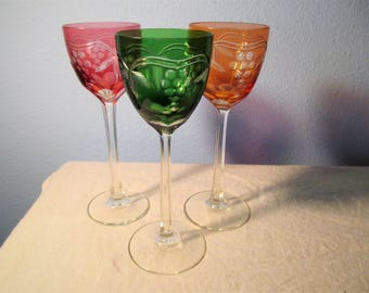 Vintage Three Bohemian Style Cut Crystal Wine Goblets or Glasses