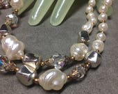 """Vintage 17"""" Goldtone Faux Pearl Clear Beaded Double Strand Necklace"""