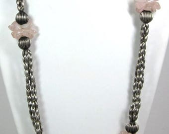 ON SALE Vintage Multi Strand Beaded Pewter and Rose Quartz Necklace