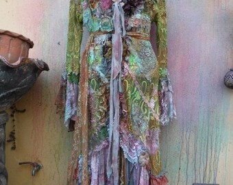 """20%OFF RESERVEDgothic bohemian boho lagenlook jacket gypsy lace jacket coat ....work of art!!  small to 38"""" bust...."""