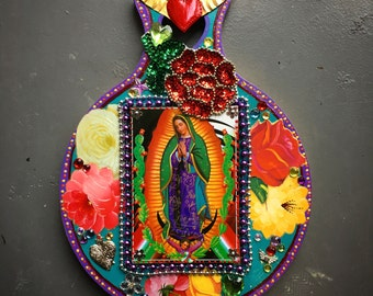 Upcycled Mexican art on wood block / Mexican folk art / rainbow/ Virgin Mary Guadalupe / sequin