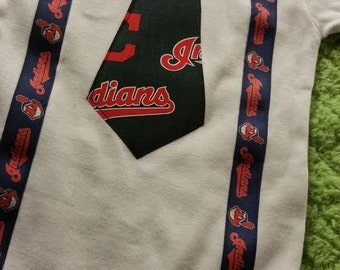 Cleveland Indians Tie bodysuit with suspenders - Baby sizes available 0-3m, 3-6, 6-12m, 12-18