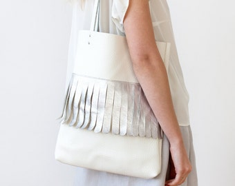 White & Silver Fringe Leather Tote bag