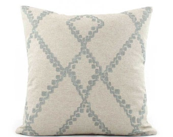 Blue Gray Batik Pillow Cover 18x18, 20x20, 22x22 Eurosham or Lumbar, Ikat Throw Pillow, Light Gray Pillow, Accent Pillow, Lacefield Medina