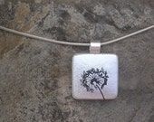 Dandelion Wish Pendant Necklace Dichroic Fused Glass Dandelion Jewelry