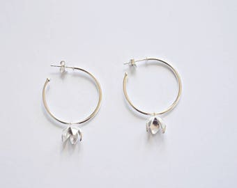 flower sterling silver hoop earrings - MOGNO Collection
