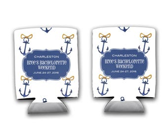 Personalized Bachelorette Favors Can Cooler - Bride's Mate Nautical Anchor - Perfect Bridesmaid/ Bridal Party Gifts