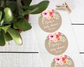 Bouquet Favor Labels - Baby Shower Favor Label - Round - Floral Wedding Label | Bridal Shower Label | Floral Mason Jar Labels - ANY OCCASION