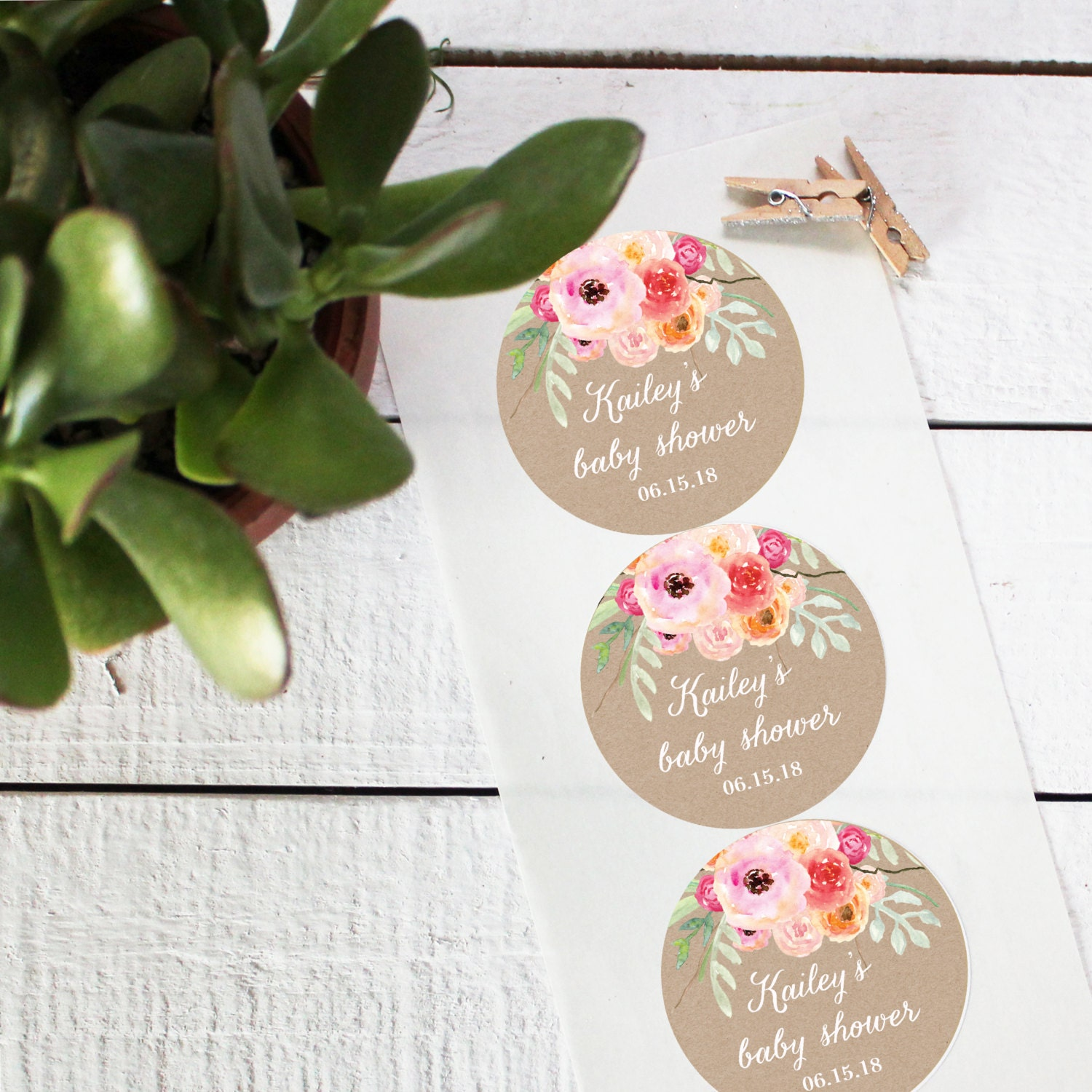Baby Shower Stickers For Favors: Bouquet Favor Labels Baby Shower Favor Label Round