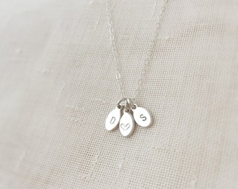 Posy (necklace) - Three tiny sterling silver tag necklace with hand stamped initials
