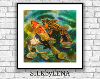 GICLEE Art Print  lotus flower koi fish painting art wall art print silk painting fine art print modern fine art