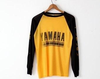 SALE 1980s Yamaha racing jersey, yellow & black nylon mesh t-shirt