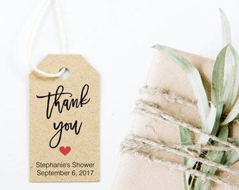 Wedding Favors, Personalized Thank You Tags, Bridal Shower Favor, Party Favor Tags, Brush Script - Set of 25, 1.25 x 2.25 inch, MNDA