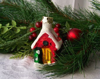 Vintage House Christmas Ornament Glass House Ornament Frosted Cabin Holiday Decor 1990s