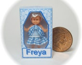 Little Miss Freya, dolls house miniature toy doll in a box. A dolly for your dolls house doll.