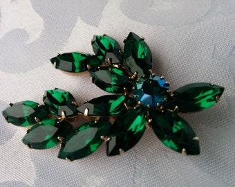Vintage Green and Blue Crystal Brooch