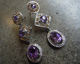 Vtg 10k White Gold with Genuine Amethyst and Yellow Citrine and Diamonds Dangle Drop Earrings
