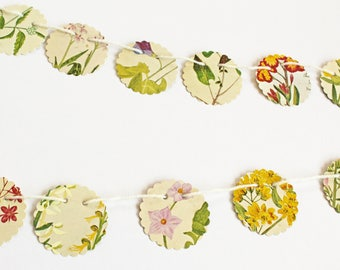 Mini Flower Bunting, Small Victorian Garland, Upcycled Paper Garland, eco-friendly banner